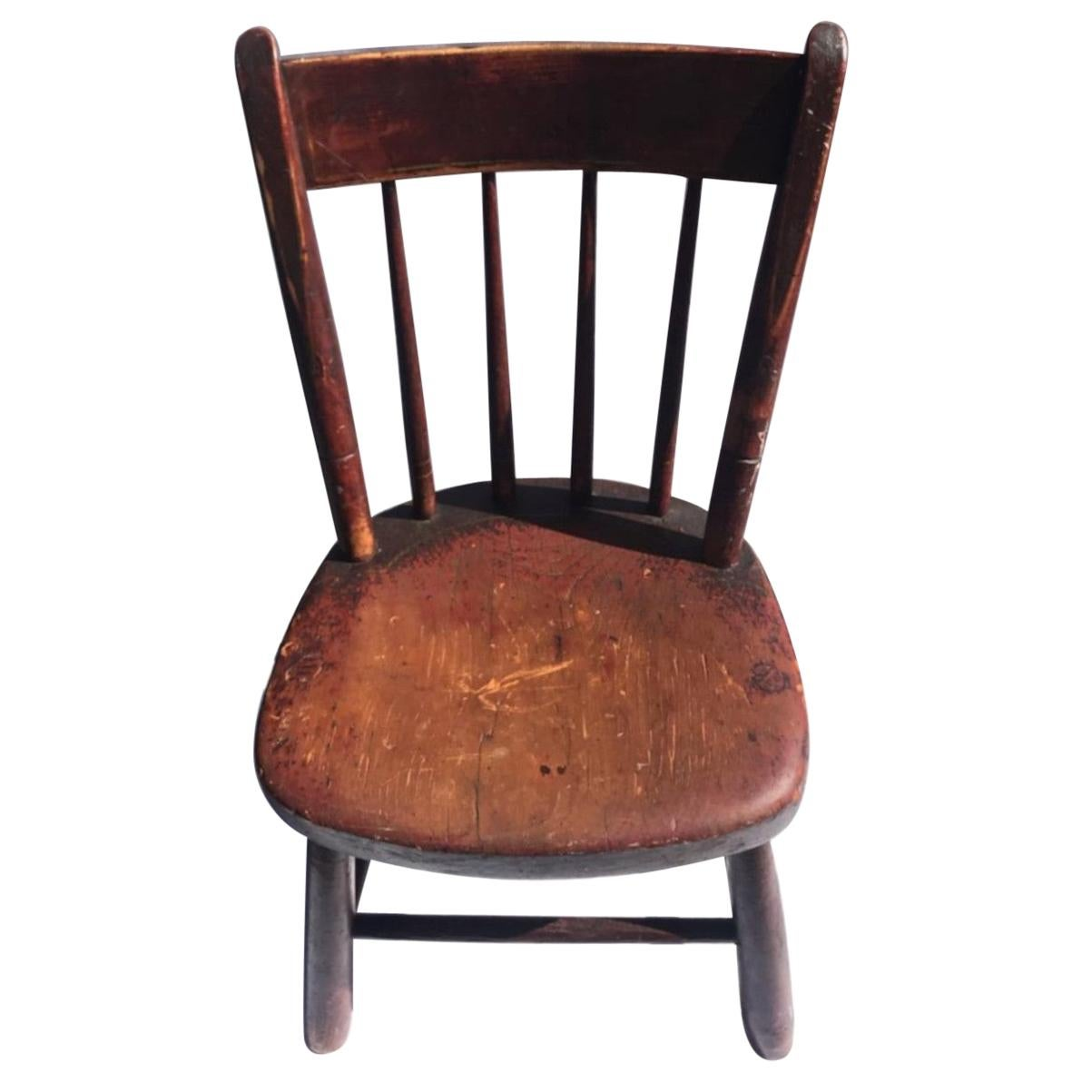 19th Century Original Red Painted Childs Windsor Thumb Back Chair