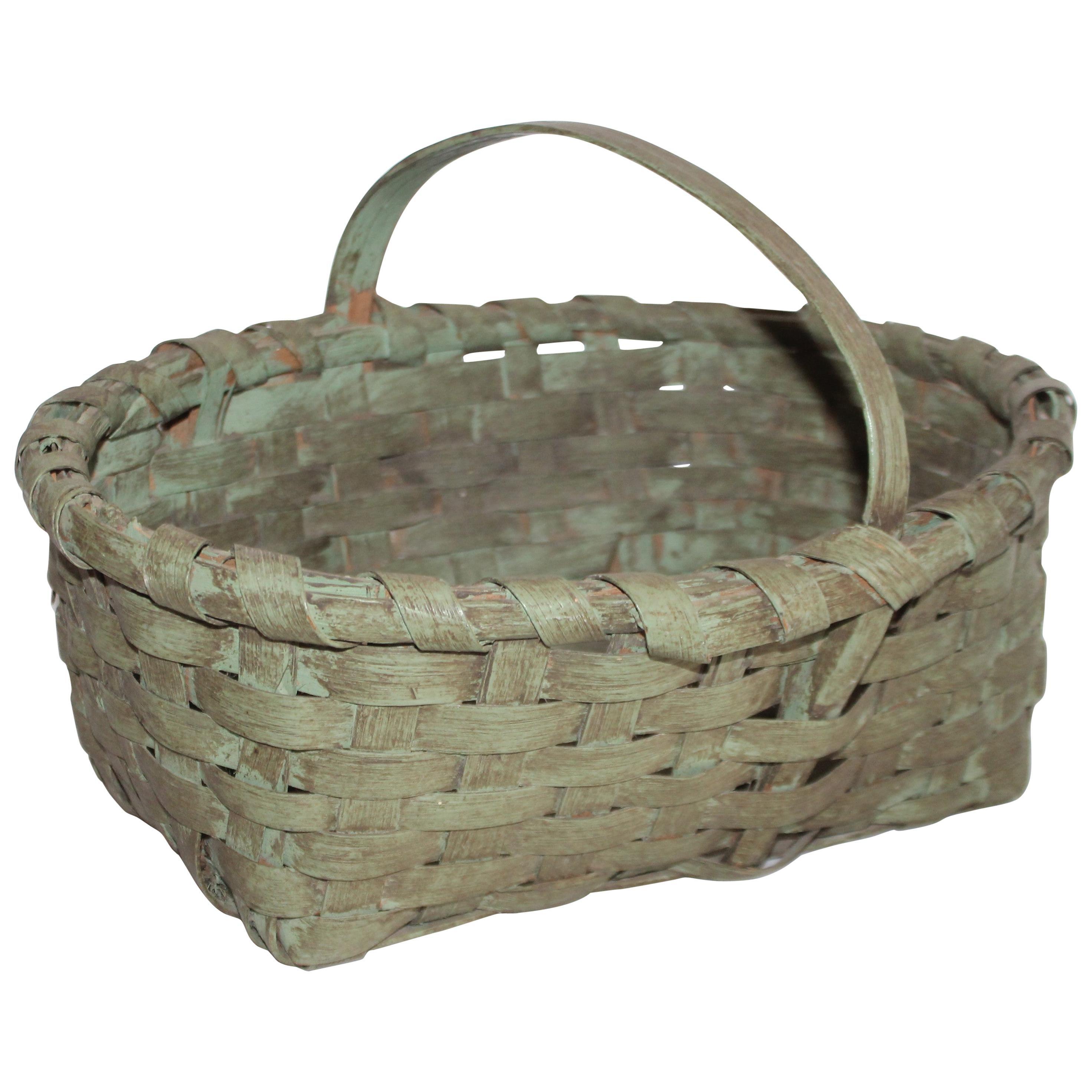 19th Century Original Sage Green Painted Basket