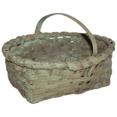 19th Century Original Sage Green Painted Basket