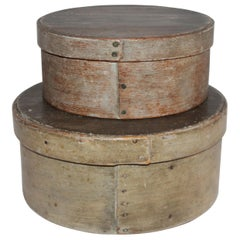 19th Century Original Sage Green Painted Pantry Boxes, Pair