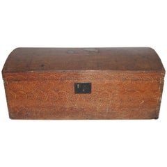 19th Century Original Sponge Painted Dome Top Trunk