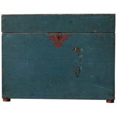 19th Century Original Swedish Blue Pine Box