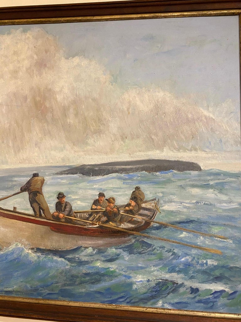 American 19th Century Original Whaling Painting by Benjamin Russell, circa 1880 For Sale