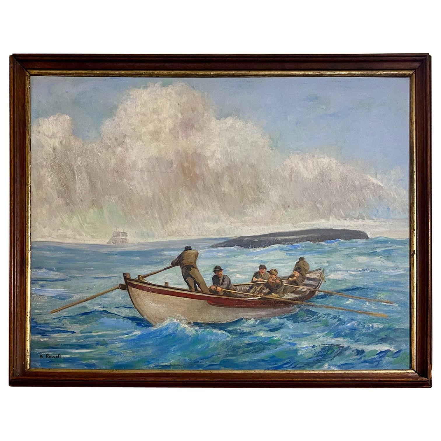19th Century Original Whaling Painting by Benjamin Russell, circa 1880