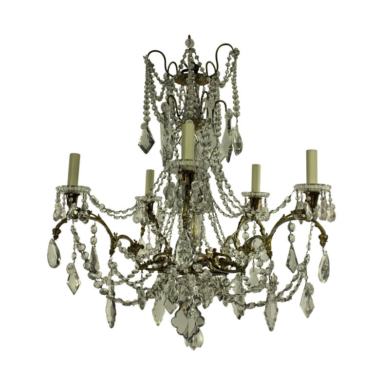 French 19th Century Ormolu and Cut-Glass Chandelier, Signed Baccarat