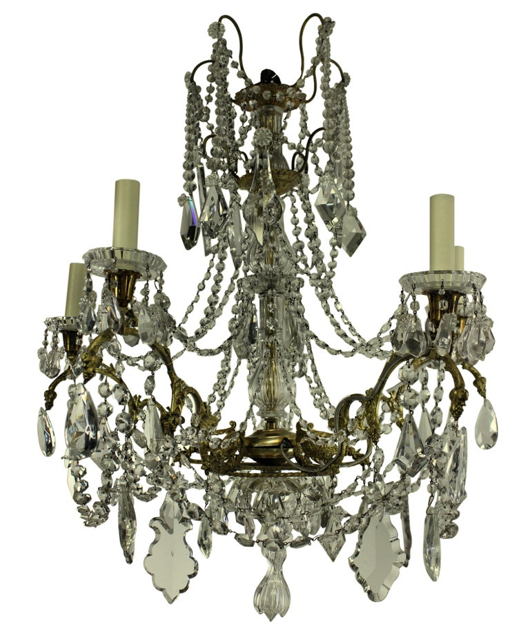 Cut Glass 19th Century Ormolu and Cut-Glass Chandelier, Signed Baccarat