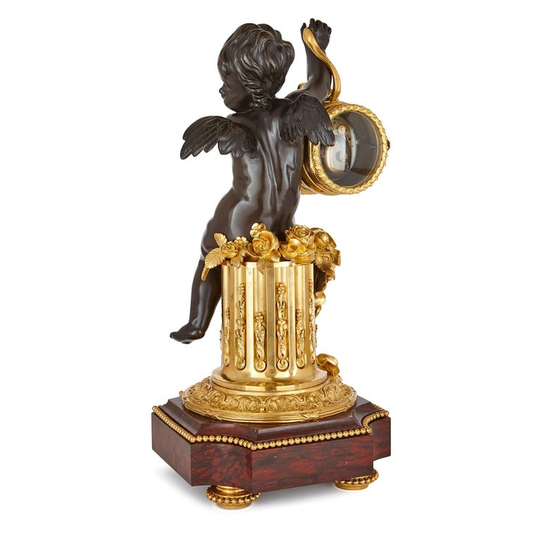 Belle Époque 19th Century Ormolu and Marble Mantel Clock For Sale
