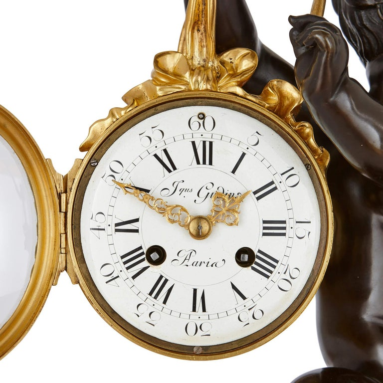 Gilt 19th Century Ormolu and Marble Mantel Clock For Sale