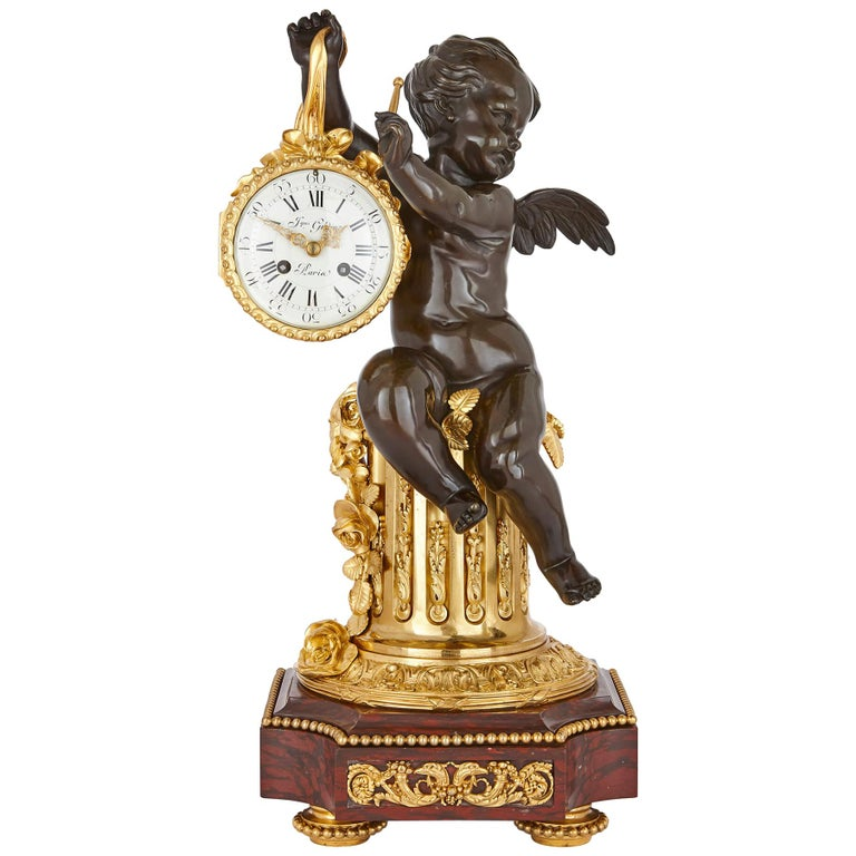 19th Century Ormolu and Marble Mantel Clock For Sale
