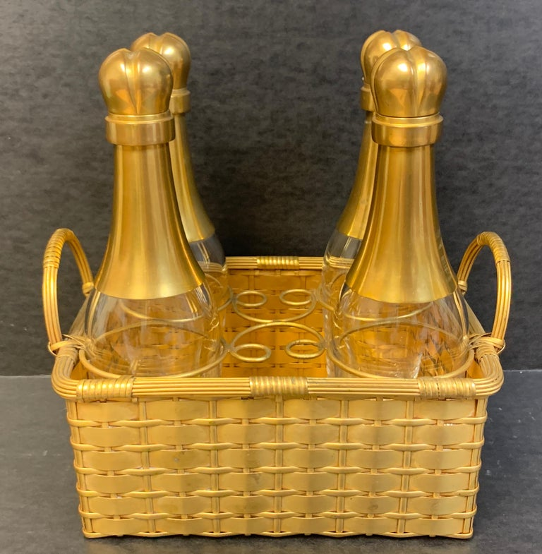 19th century ormolu Basketweave Tauntless, attributed to Baccarat, consisting of four 8.75
