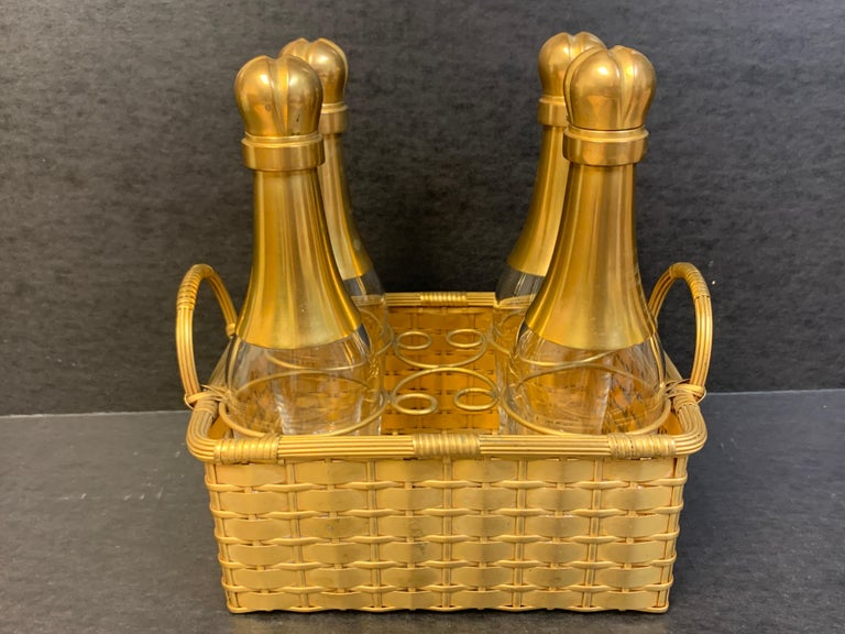 High Victorian 19th Century Ormolu Basketweave Tauntless, Attributed to Baccarat For Sale