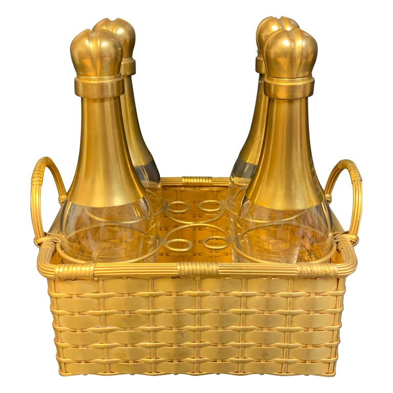 19th Century Ormolu Basketweave Tauntless, Attributed to Baccarat For Sale