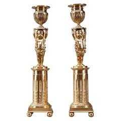 19th Century Ormolu Bronze Antique Candlestick Holders with Putti