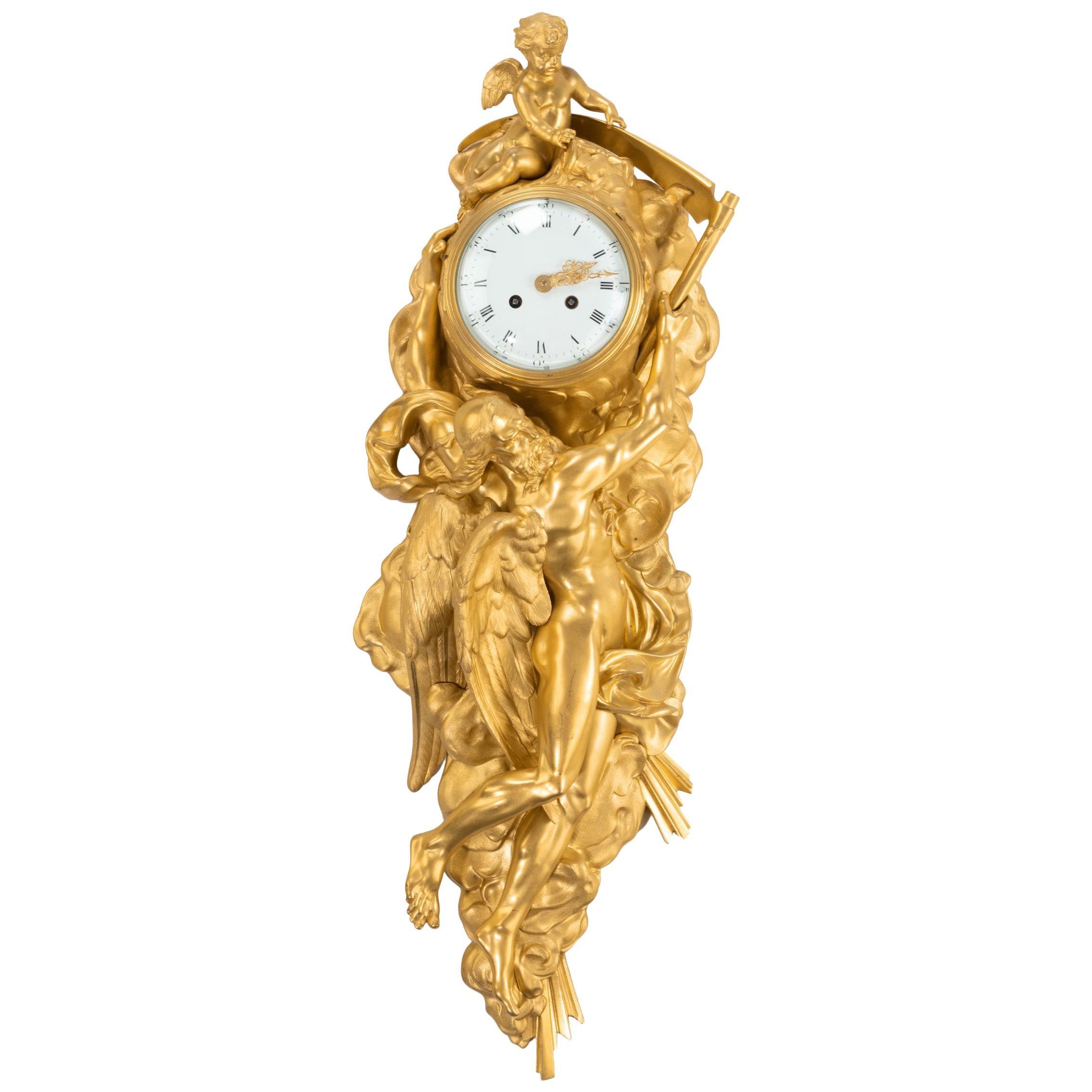 19th Century Ormolu Figural Cartel Clock