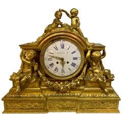 19th Century Ormolu Figural Clock by Monbro Aine, Jacquier & Picard