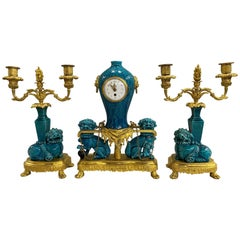 19th Century Ormolu French Three-Piece Clock Set in the Chinese Taste