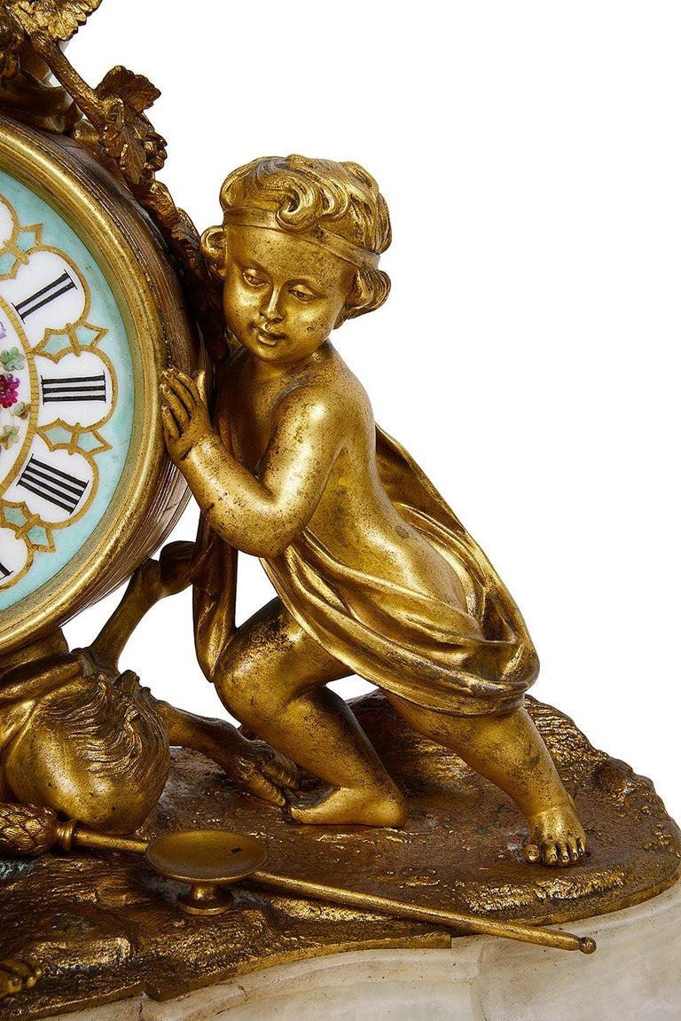 French 19th Century Ormolu Mantle Clock, Louis XVI Style For Sale