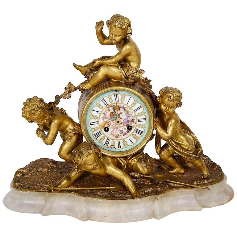 19th Century Ormolu Mantle Clock, Louis XVI Style For Sale
