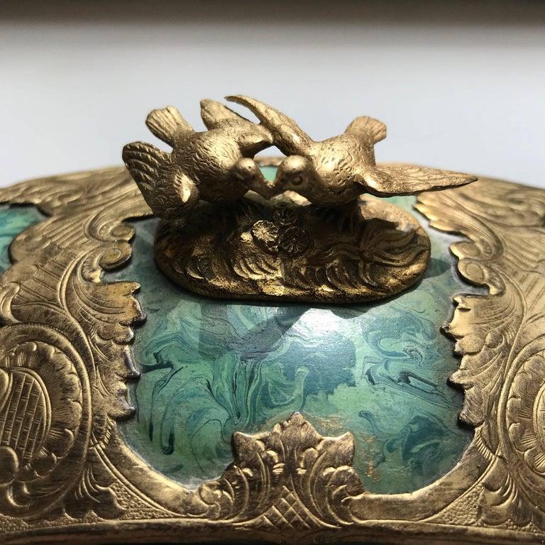 19th Century Ormolu-Mounted Faux Malachite Casket For Sale 1