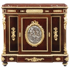 19th Century Ormolu-Mounted Side Cabinet with Red Marble Top by Vedder of Paris