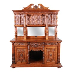 19th Century Ornate Carved Oak Back Bar or Sideboard Cabinet