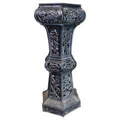 19th Century Ornate English Cast Iron Pedestal Plant Stand