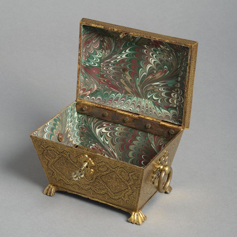 19th Century Ornate Indian Koftgari Casket In Good Condition For Sale In London, GB