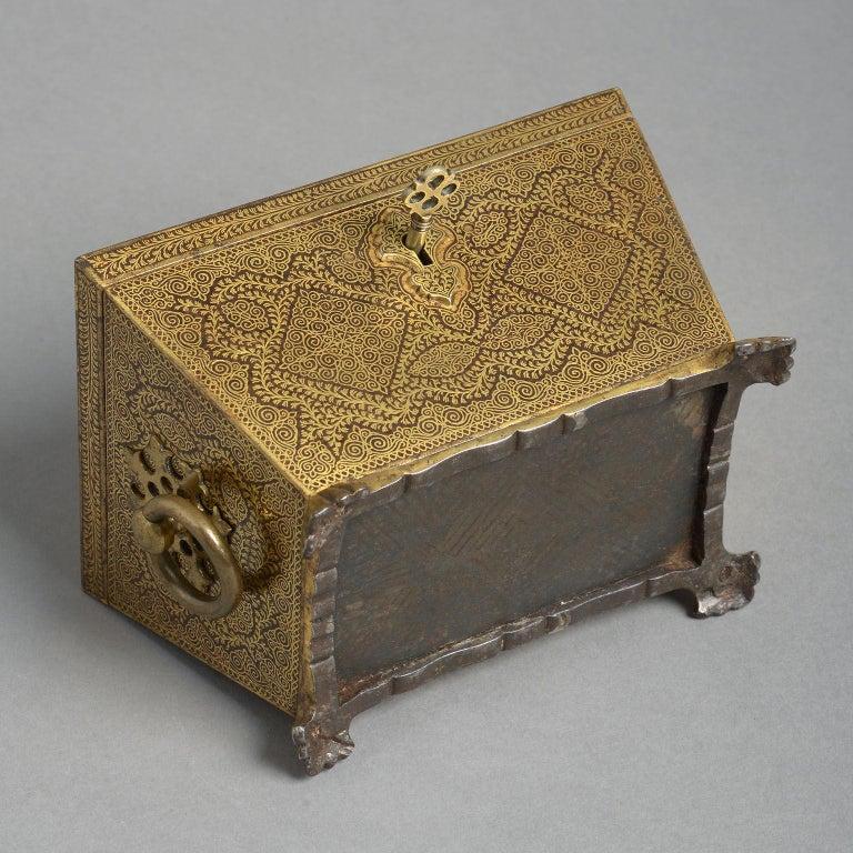 Mid-19th Century 19th Century Ornate Indian Koftgari Casket For Sale