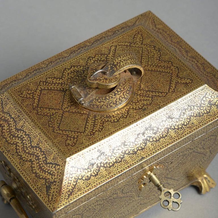 19th Century Ornate Indian Koftgari Casket For Sale 1