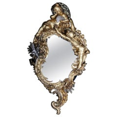 19th Century Ornate Rococo Mirror, Solid Wood Gilded in 1870, Paris