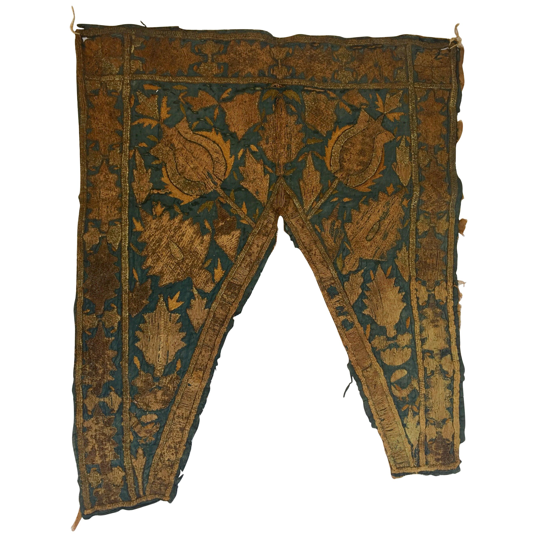 19th Century Ottoman Empire Silver Metallic Threads Embroidered Textile