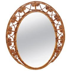 19th Century Oval Antique Rattan Wall Mirror