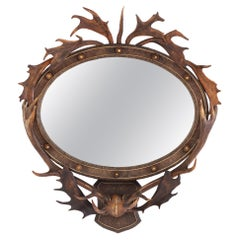 19th Century Oval Antler Mirror
