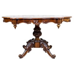 19th-Century Decorative Oval Mahogany Table on Carved Pedestal