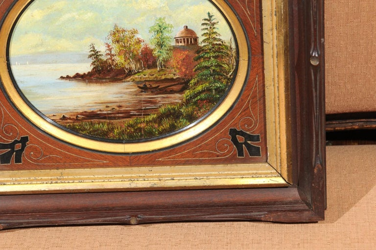 19th Century Oval Oil on Canvas Painting of Hudson River & Washington's Tomb For Sale 6