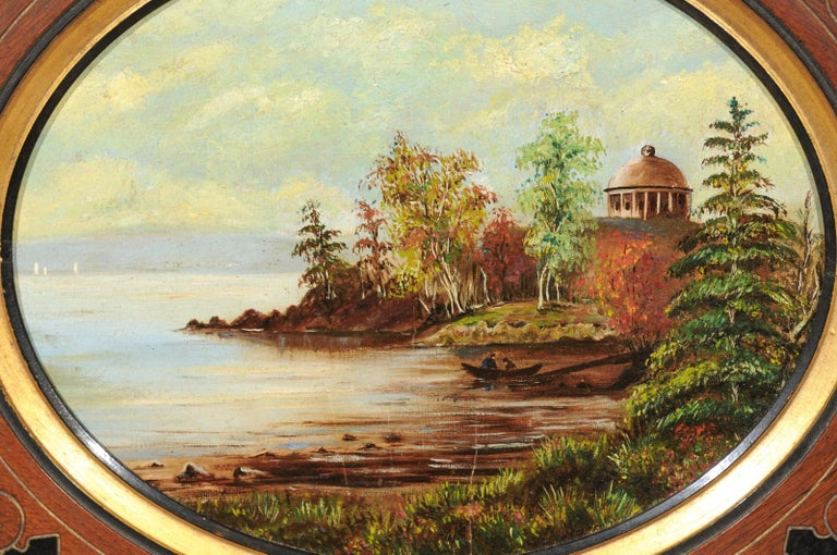 19th Century Oval Oil on Canvas Painting of Hudson River & Washington's Tomb For Sale 1