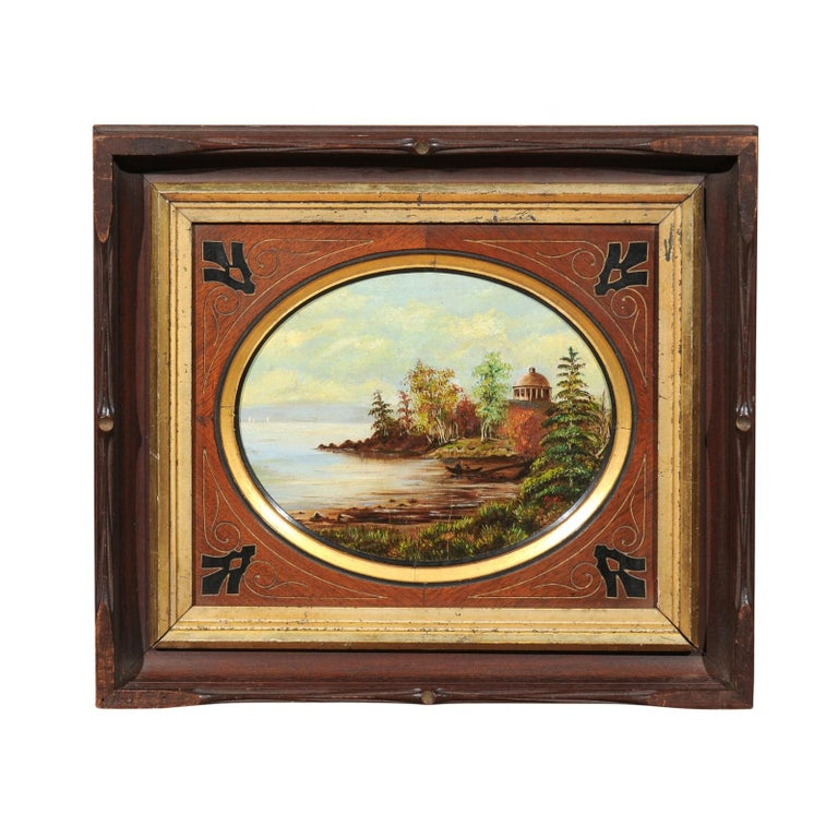 19th Century Oval Oil on Canvas Painting of Hudson River & Washington's Tomb For Sale