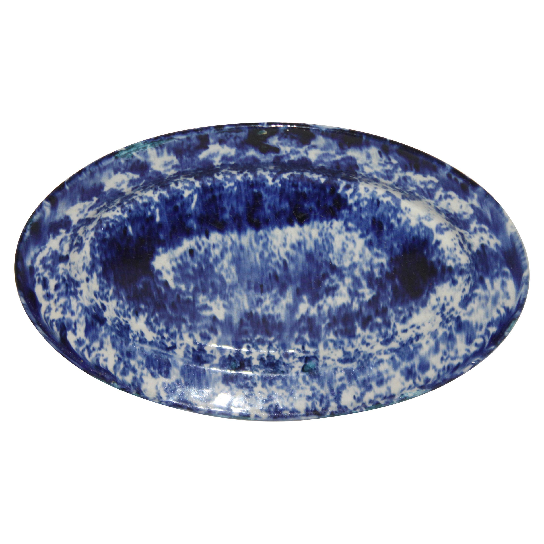 19th Century Oval Sponge Ware Serving Platter
