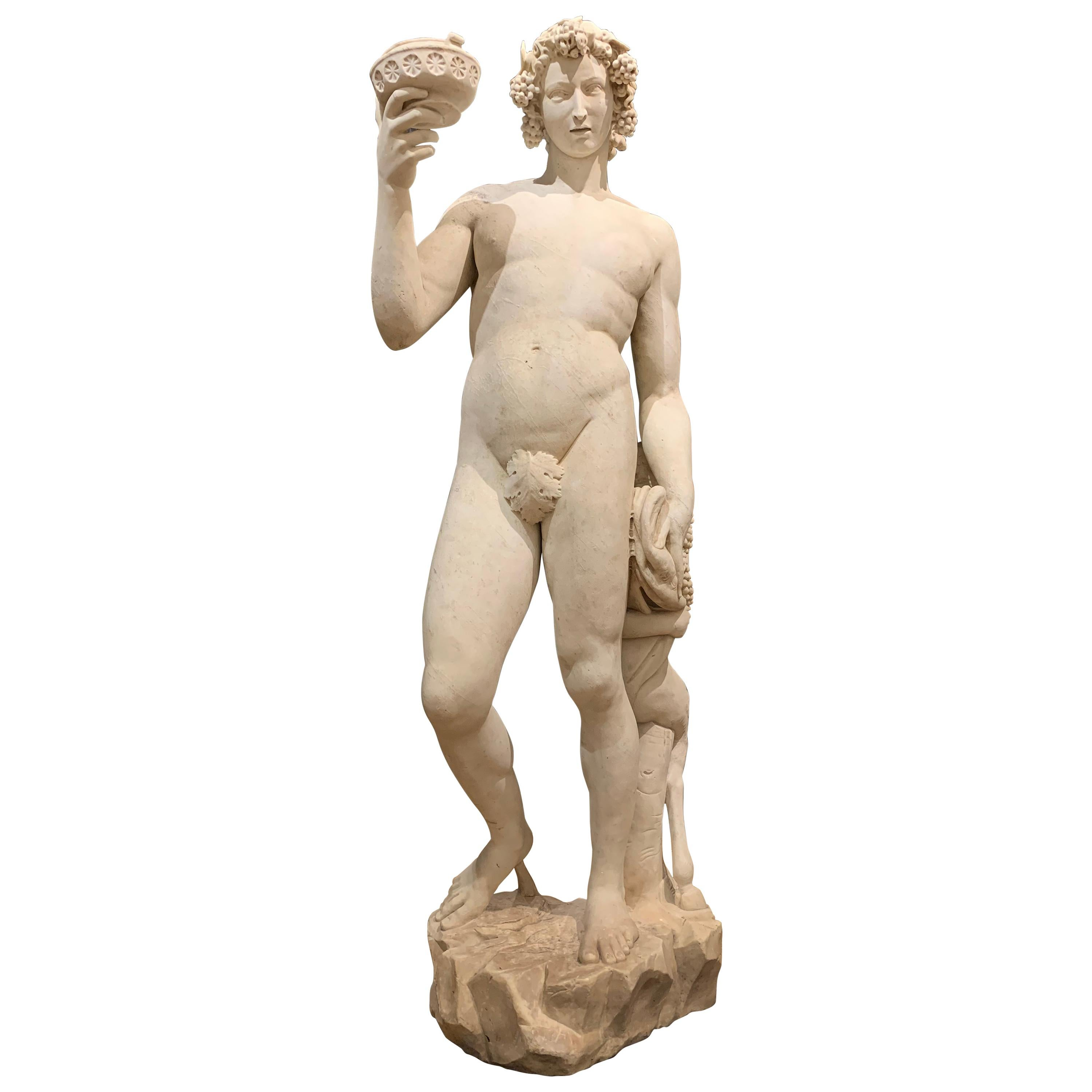 19th Century over Life-Size Marble Statue of Bacchus after Michelangelo