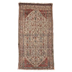 19th Century, Overall Tribal Pattern on Ivory Field, Wool Caucasian Qashqai Rug