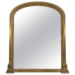 19th Century Overmantel Gilded Mirror with Light Foxing Antique