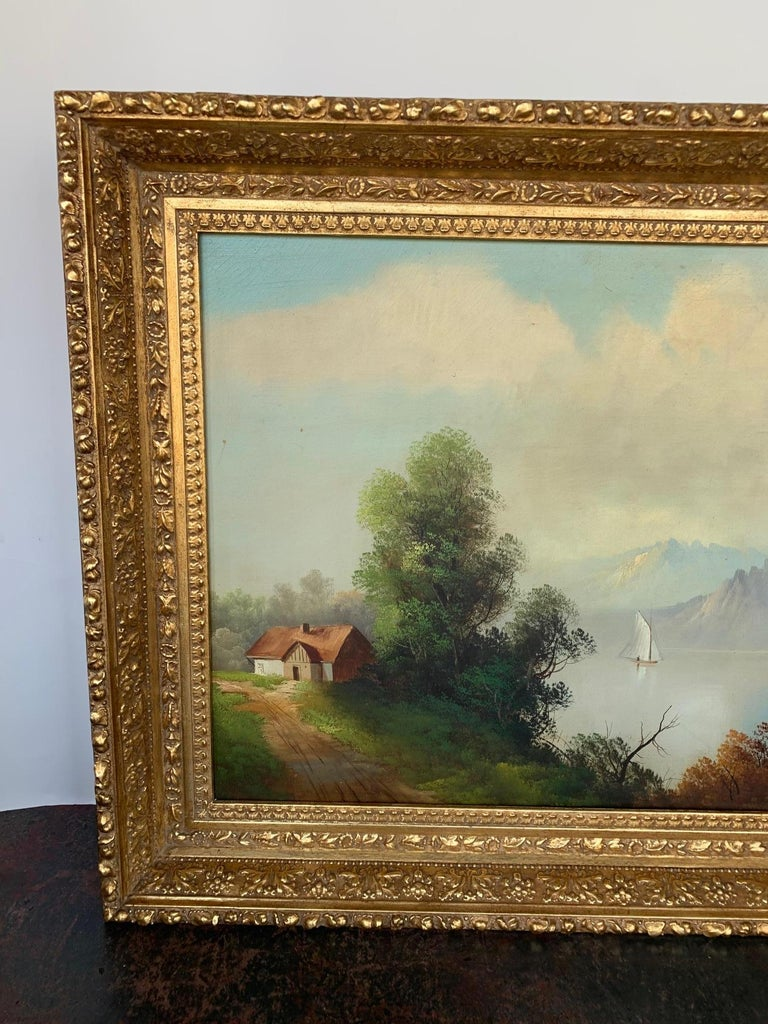 Other 19th Century Oversized Oil on Canvas Landscape For Sale