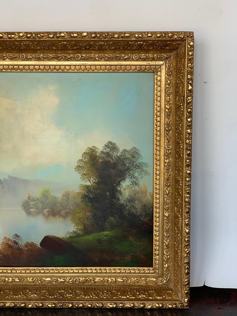 American 19th Century Oversized Oil on Canvas Landscape For Sale