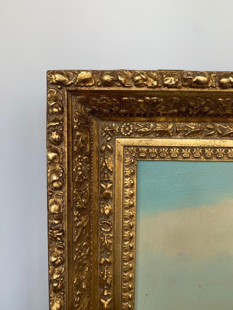 19th Century Oversized Oil on Canvas Landscape In Good Condition For Sale In Los Angeles, CA