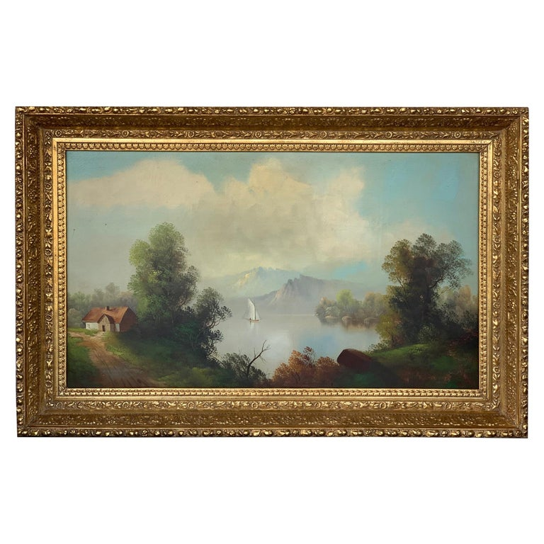 19th Century Oversized Oil on Canvas Landscape For Sale