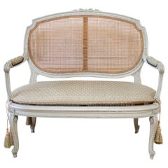 19th Century Painted and Carved Ribbon Cane Settee