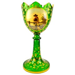 19th Century Painted and Gilded Brilliant Green Bohemian Glass Vase
