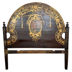 19th Century Painted and Gilt Spanish Headboard