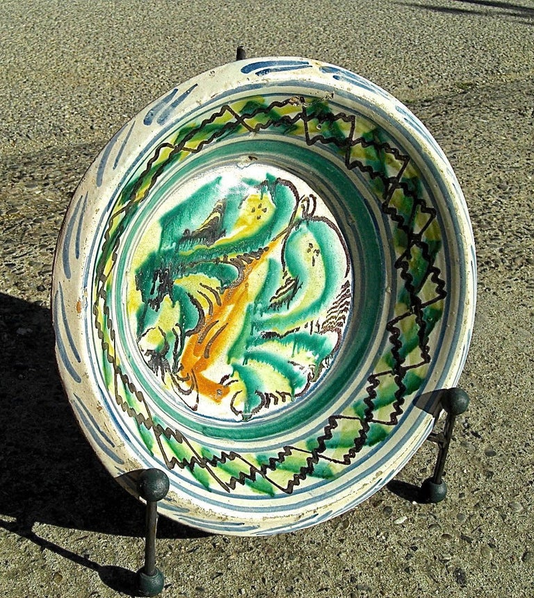 A lovely 19th century painted wash basin from the gypsy quarter of Triana in Seville, Spain.  Called