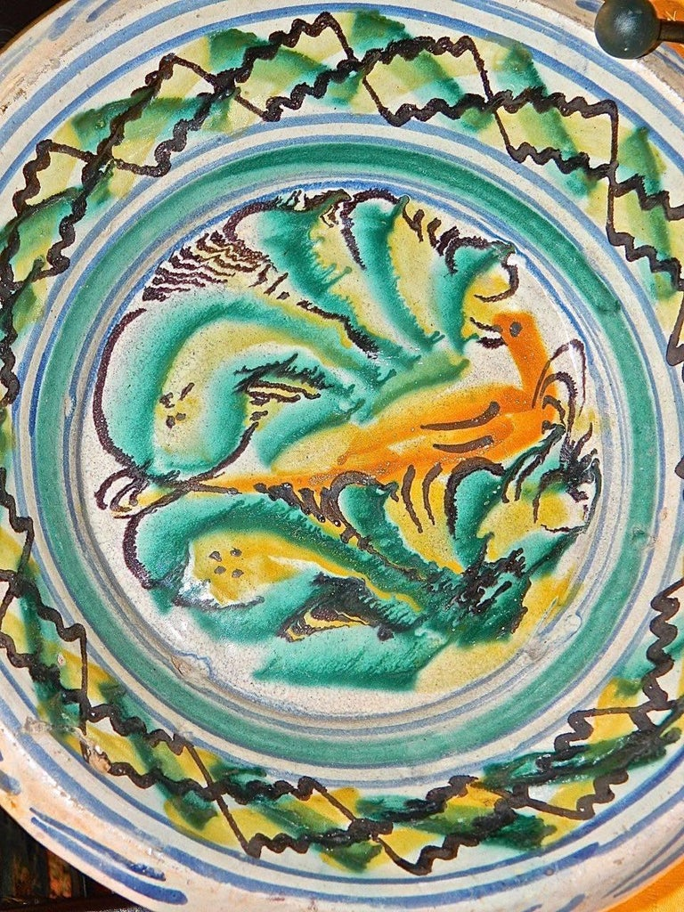Folk Art 19th Century Painted and Glazed Majolica Wash Basin from Triana, Spain For Sale